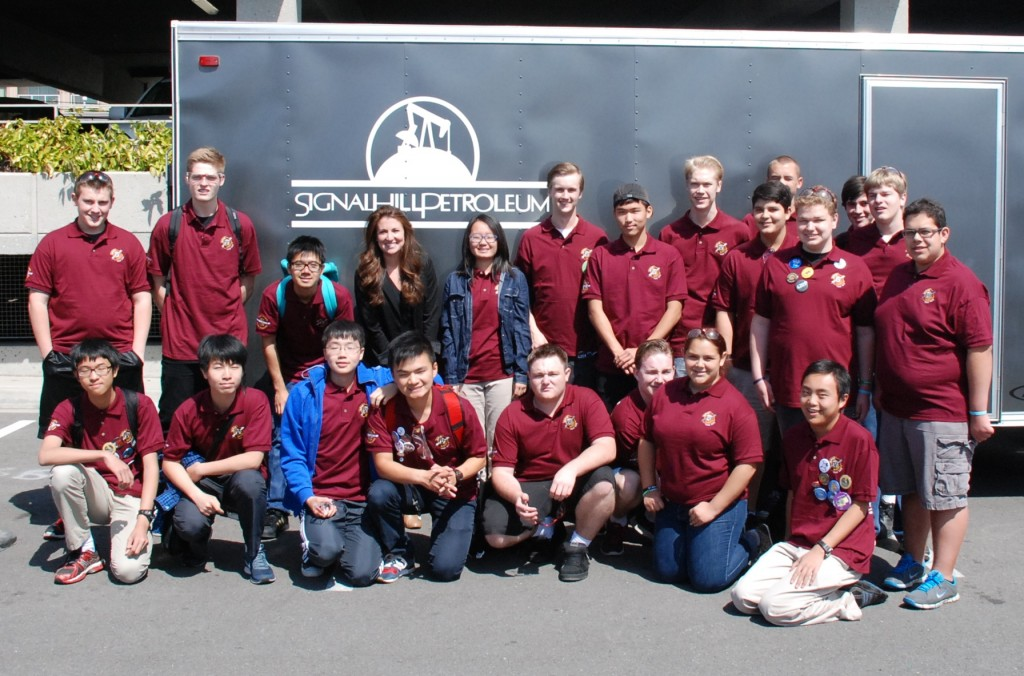 Signal Hill Petroleum's Communications Specialist, Stefanie Gillett with Valley Christian students